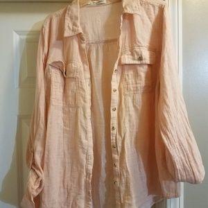 Maurice's Peach Linen blouse